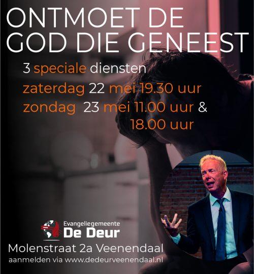 Speciale diensten met evangelist Dekker 22 en 23 mei 2021 Veenendaal banner